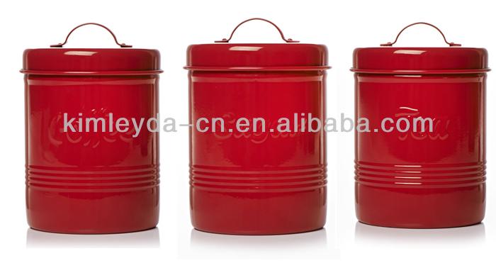 wilko red storage jars tea sugar coffee metal storage jars. Black Bedroom Furniture Sets. Home Design Ideas