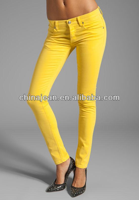 2015 Fashion Cheap Wholesale Yellow Jeans For Women Color Slim ...