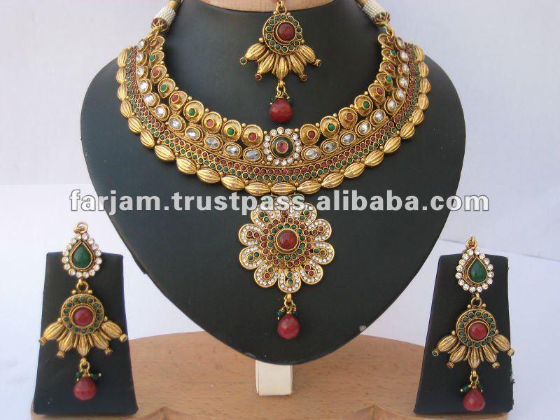 Indian Designer Polki & Jhumka Earrings Jewelry Set - Buy Polki ...