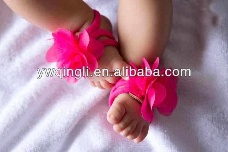 6d1159af26265 New Arrival Elastic Barefoot Sandals For Infant Hot Pink Barefoot ...