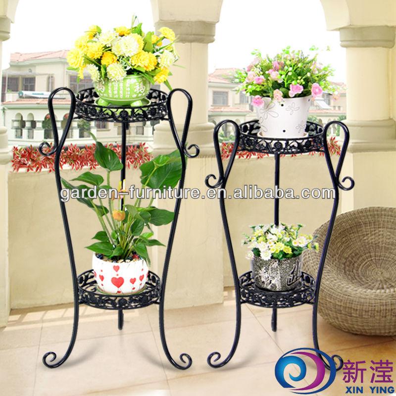 Staircase Antique Decorative Garden Plant Shelf, Wrought Iron Flower Stand,  Metal Display Shelf,