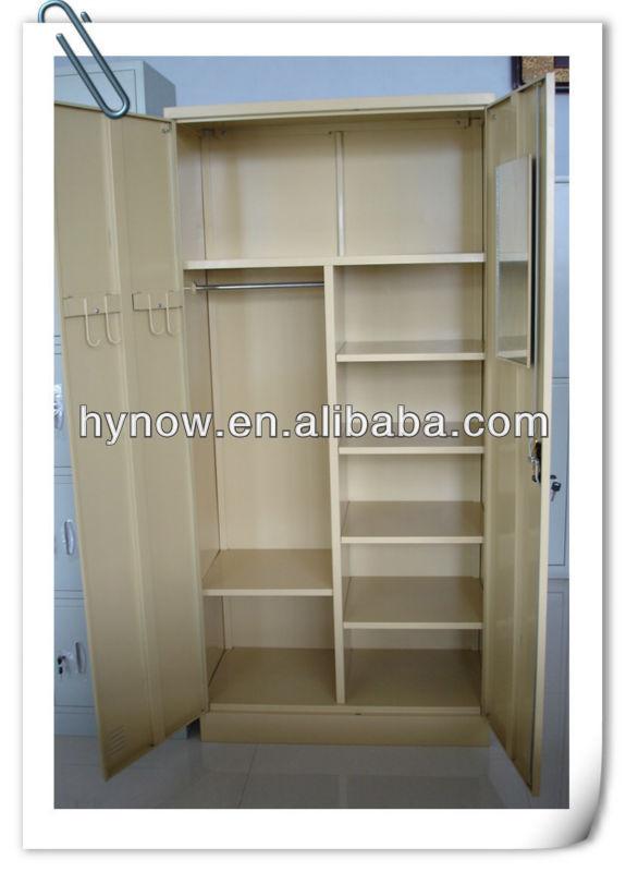 Two Door Steel Furniture Wood Grain Wardrobe Door Designs India