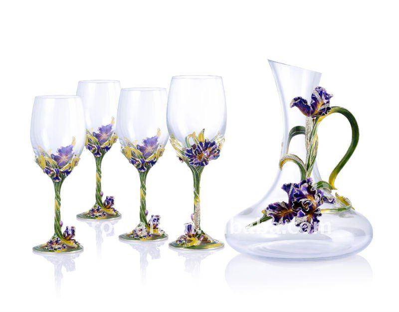 Pewter Design Iris Flower Decorate Wine Glass Set Buy Enamel Wine