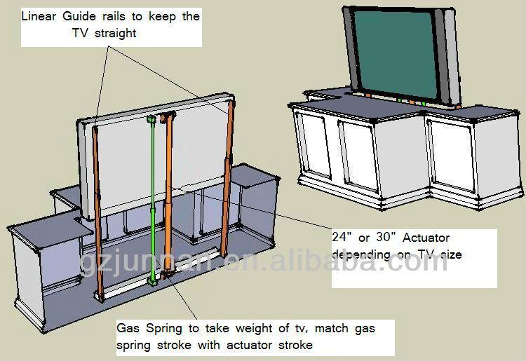 mecanismo de elevaci n de motor para tv para alta clase. Black Bedroom Furniture Sets. Home Design Ideas