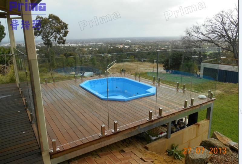 Deck railing glass panels acrylic glass railing for pool for Plexiglass pool fence