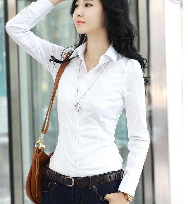 Latest Fashion Slim Long Sleeve Office Ladies Shirt/blouse - Buy ...