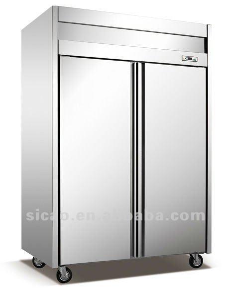 500l stainless steel upright vertical double door cooler freezer display fridge cooler equipment - Upright Deep Freezer