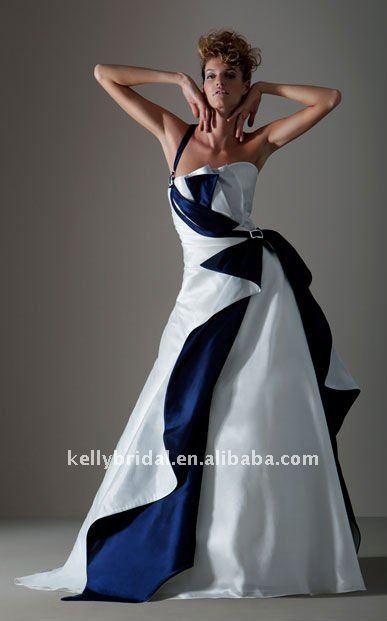 Vestidos de novia en azul y blanco