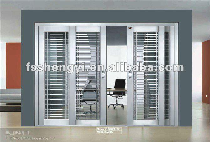 Stainless steel sliding main door buy steel double doors for Steel entry door with sliding window