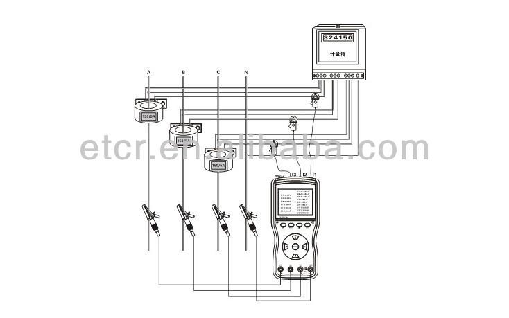 etcr4700 three phase digital phase volt-ampere meter