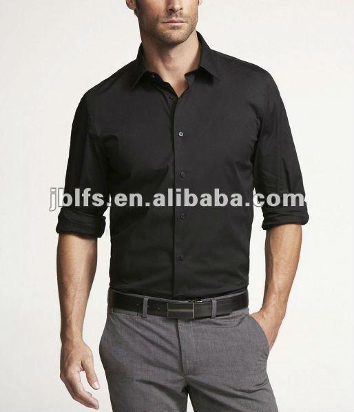 100% Cotton Casual Mens Stylish Black Shirt - Buy 100% Cotton ...