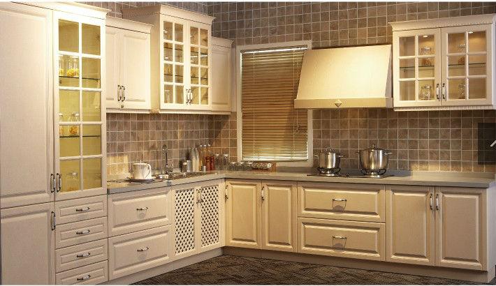 Estilo americano color blanco pvc puerta shaker cocina - Cocina estilo americano ...