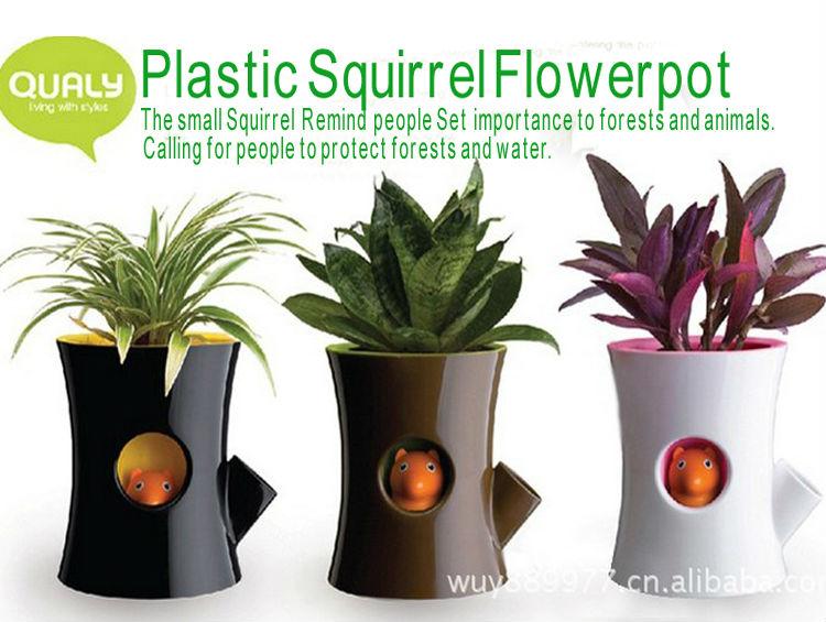 small flower pot people novelty squirrel flowerpot indoor decorative plastic smart plant