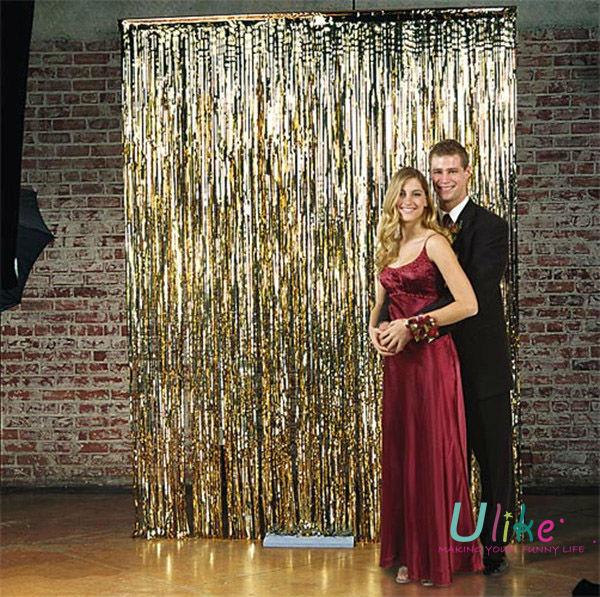 TINSEL SHIMMER FOIL DOOR CURTAIN Wedding Gold Foil Curtain,Metallic Shiny  Curtain,Party Foil