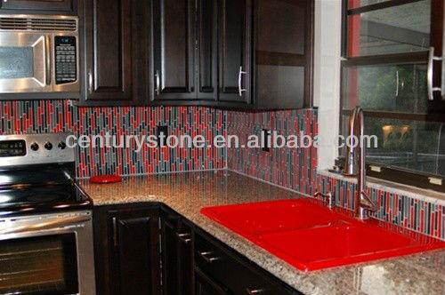 Strip Crystal Glass Pure Red Brick Wall Tile Red Backsplash Tile Red Kitchen Tile
