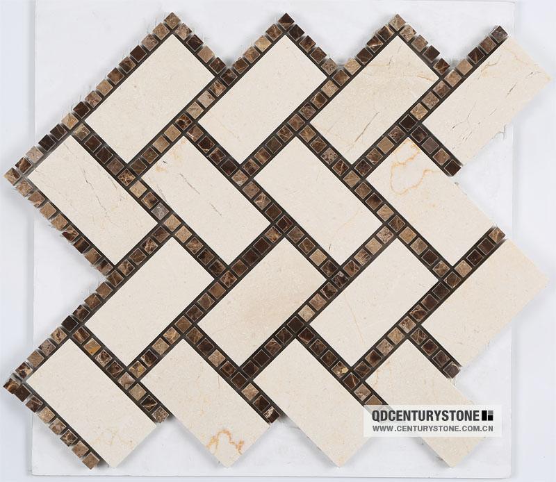 Black and white art mosaic wall design hotel lobby floor