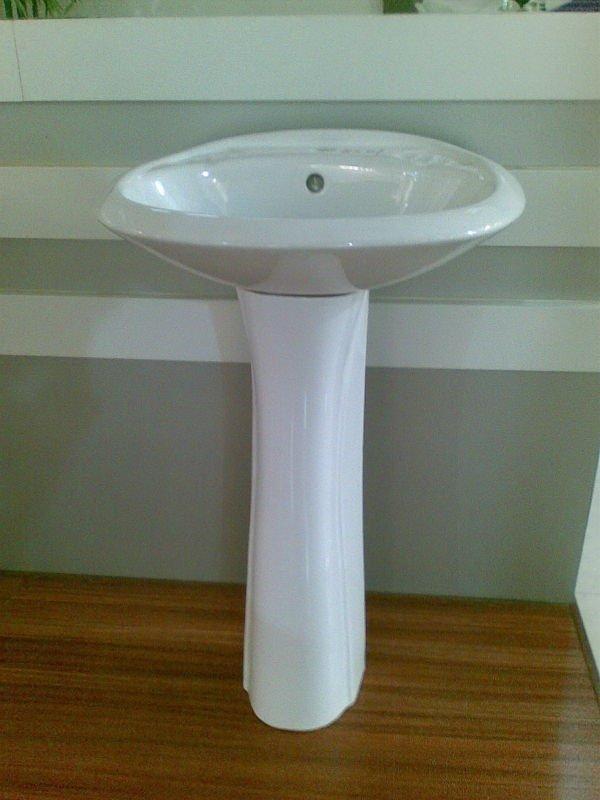 Bathroom Ceramic Pedestal Stand Alone Sink