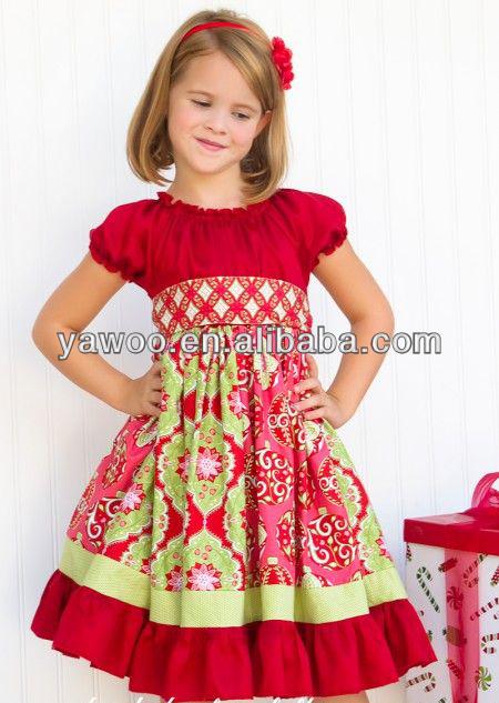 2014 newest custom summer valentine red floral dress designs for young girls little baby girls cotton - Girls Valentine Dress