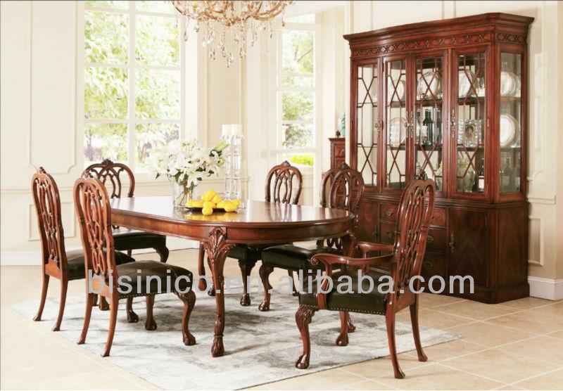 Noble y elegante madera el ptica mesa de comedor w silla for Muebles de comedor elegantes