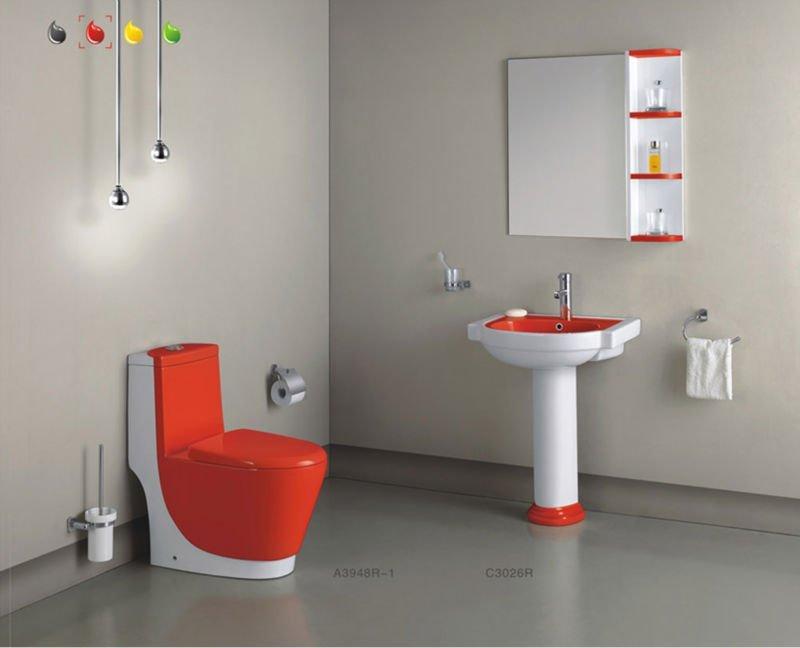 Washdown keramische badkamer sets wc rode toiletpot kleur