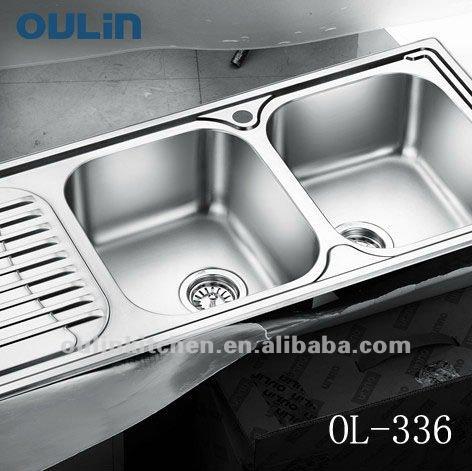 Kitchen Sink Double Bowl Stainless Steel Sink Drainboard (OL 336)