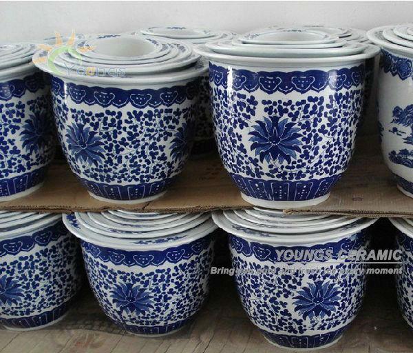 orientalische handzeichnung blumentopf bertopf keramik jingdezhen made in buy blumentopf. Black Bedroom Furniture Sets. Home Design Ideas