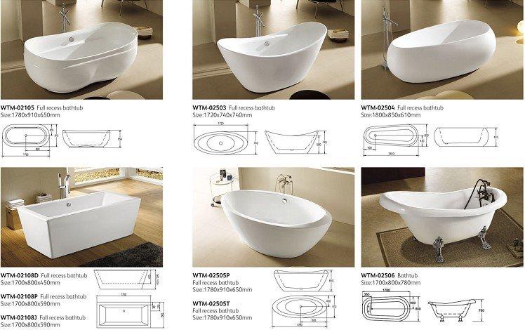 Good Classic Acrylic Ordinary Bathtub Wtm 02508
