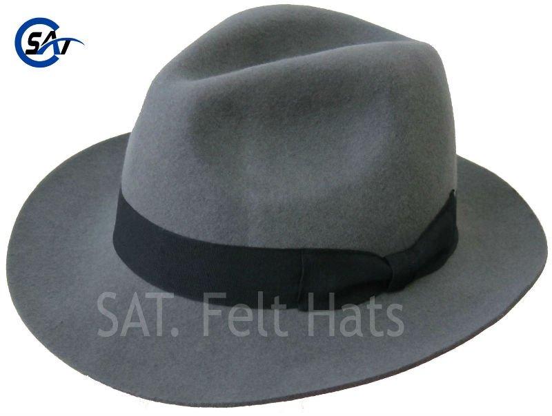 Men s Classic 100% Wool Felt Grey Fedora Hat - Buy Fedora 176c32c8949