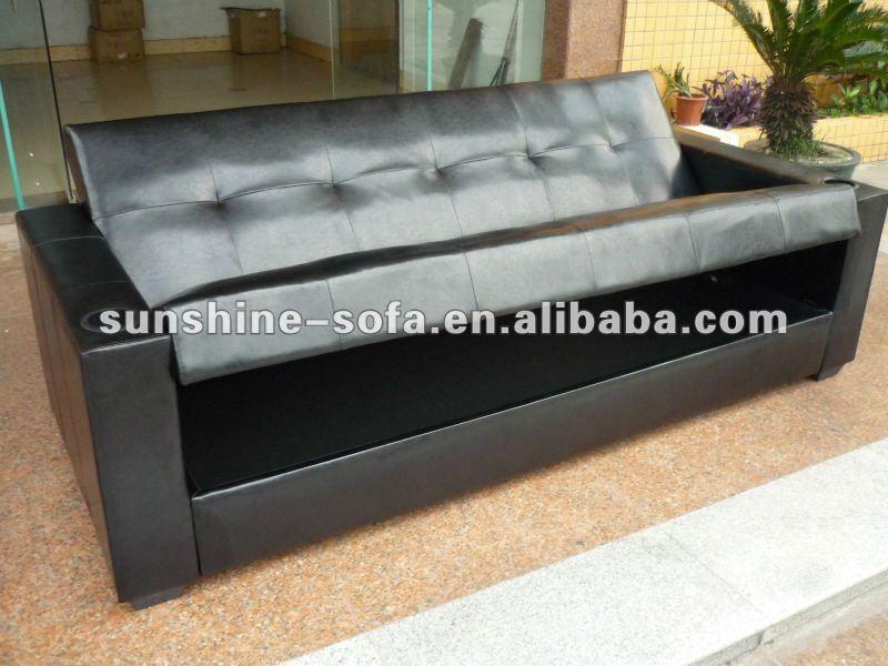 Sof cama de cuero con caj n buy product on for Sofa cama con cajones