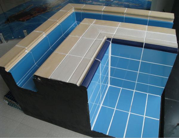 Giallo di ceramica piscina bordo antiscivolo piastrelle per