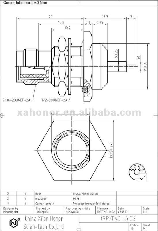 reverse polarity tnc male bulkhead microstrip rf connector
