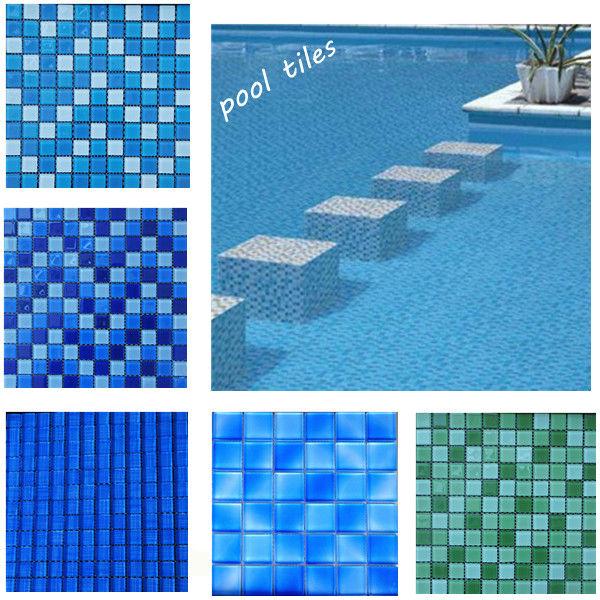 50x50 swimming pool mosaics glass mosaic swimming pool for Pool bathroom flooring