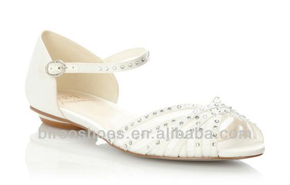 White Wedding Shoes Bridal No Heel Style We061