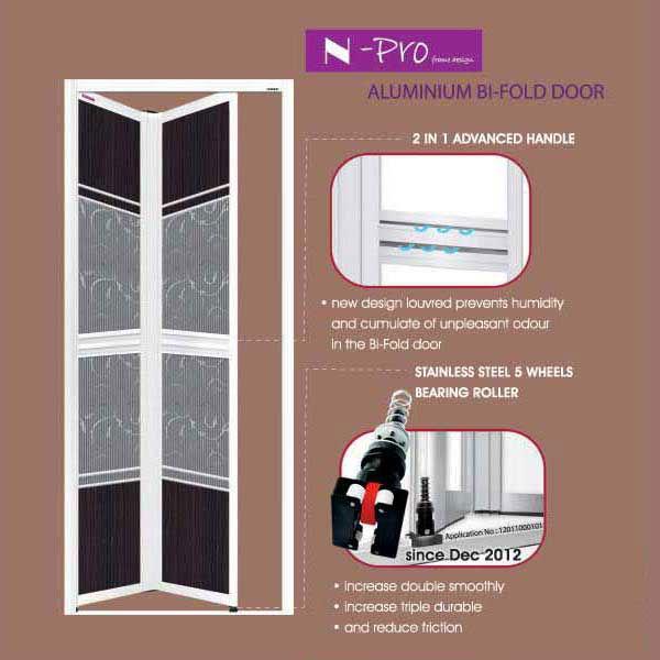 Npro bi fold door aluminium bifold door bi fold door for Aluminium bathroom door designs