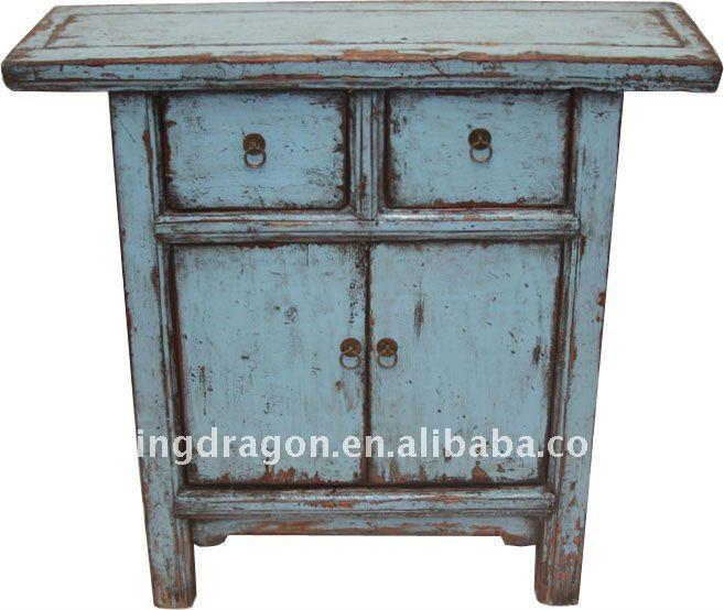 chinois antique gris bleu couleur petite armoire avec deux. Black Bedroom Furniture Sets. Home Design Ideas