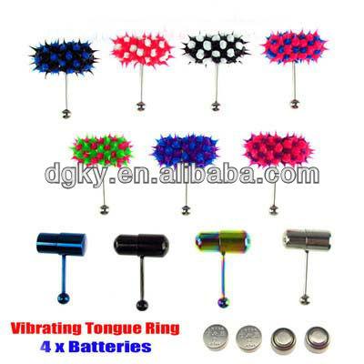Vibrating Tongue Bar Ring Koosh Ball 4 Batteries Body Piercing Jewelry
