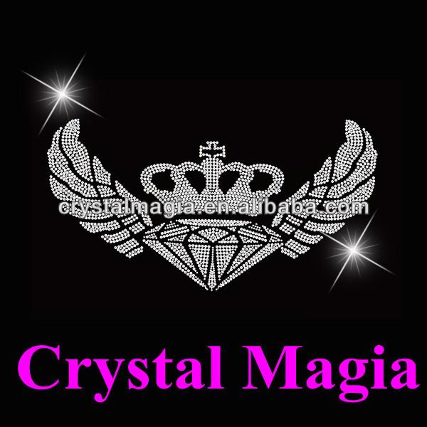 Asas De Cristal Design Motivo Quente Do Reparo Com Coroa E Diamante Buy Hot Fix Projeto Do Motivoferro Em Strass Apliqueshotfix Strass Projeto