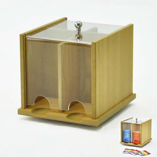 Hot Wooden 2 Grids Tea Bag Storage Box