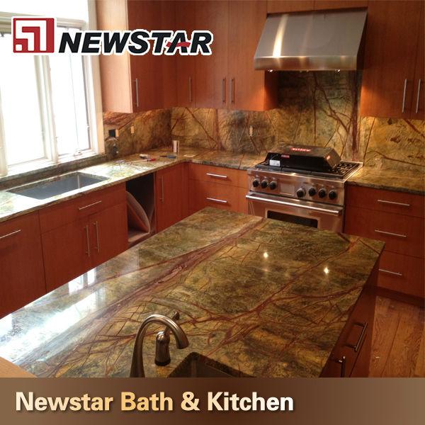 Prefab Kitchen Rainforest Granite Countertops