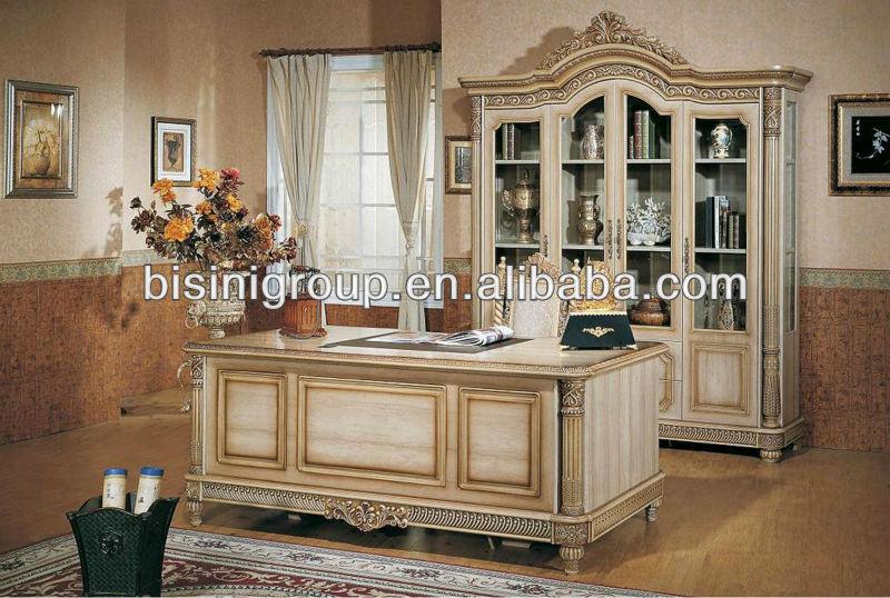 Lastest European Style Office Furniture Luxury White Color Desk Set Quality