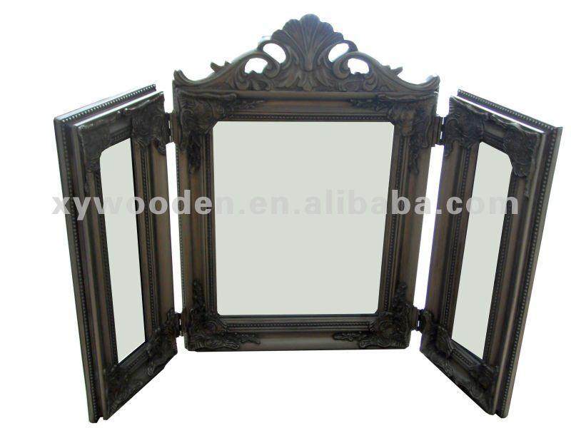 Foldable three sided wood framed vanity dressing table