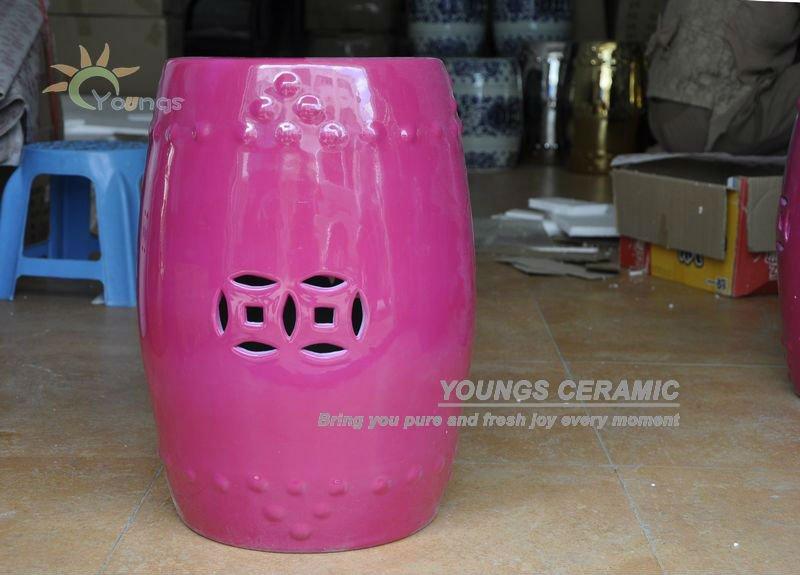 Superior Graceful Rose Color Chinese Ceramic Porcelain Garden Stools For Home  Furniture