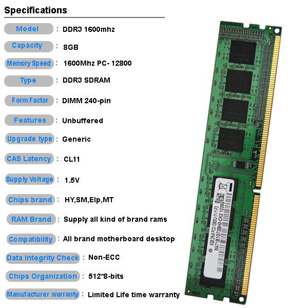 bulk computer parts non ecc desktop ddr3 8gb ram memory. Black Bedroom Furniture Sets. Home Design Ideas