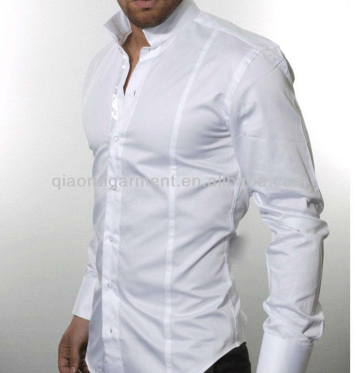 Glanzend Overhemd Heren.Mannen Band Kraag Glanzend Katoen Satijn Overhemd Buy Heren Band