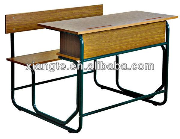 Top end houten stalen dubbele student bureau en stoel