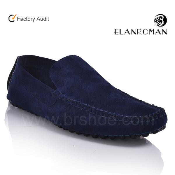 High quality blue suede shoes men boat shoes men no laces casual ...