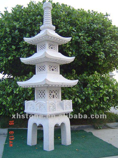 Hand Carved Granite Stone Japanese Garden Pagodas