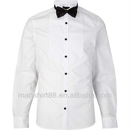 Man's Long Sleeve White Satin Tuxedo Shirt - Buy Tuxedo Shirt ...