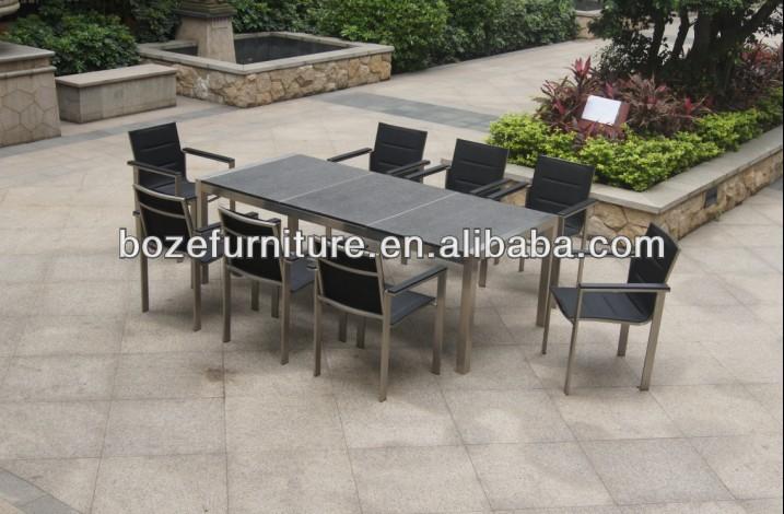 Patio meubles granit pierre moderne ext rieur en acier for Table exterieur acier