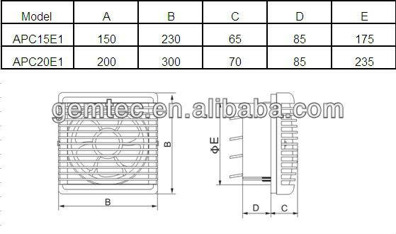 Exhaust Fan Size : Kdk automatic shutter exhaust fan apc e buy auto